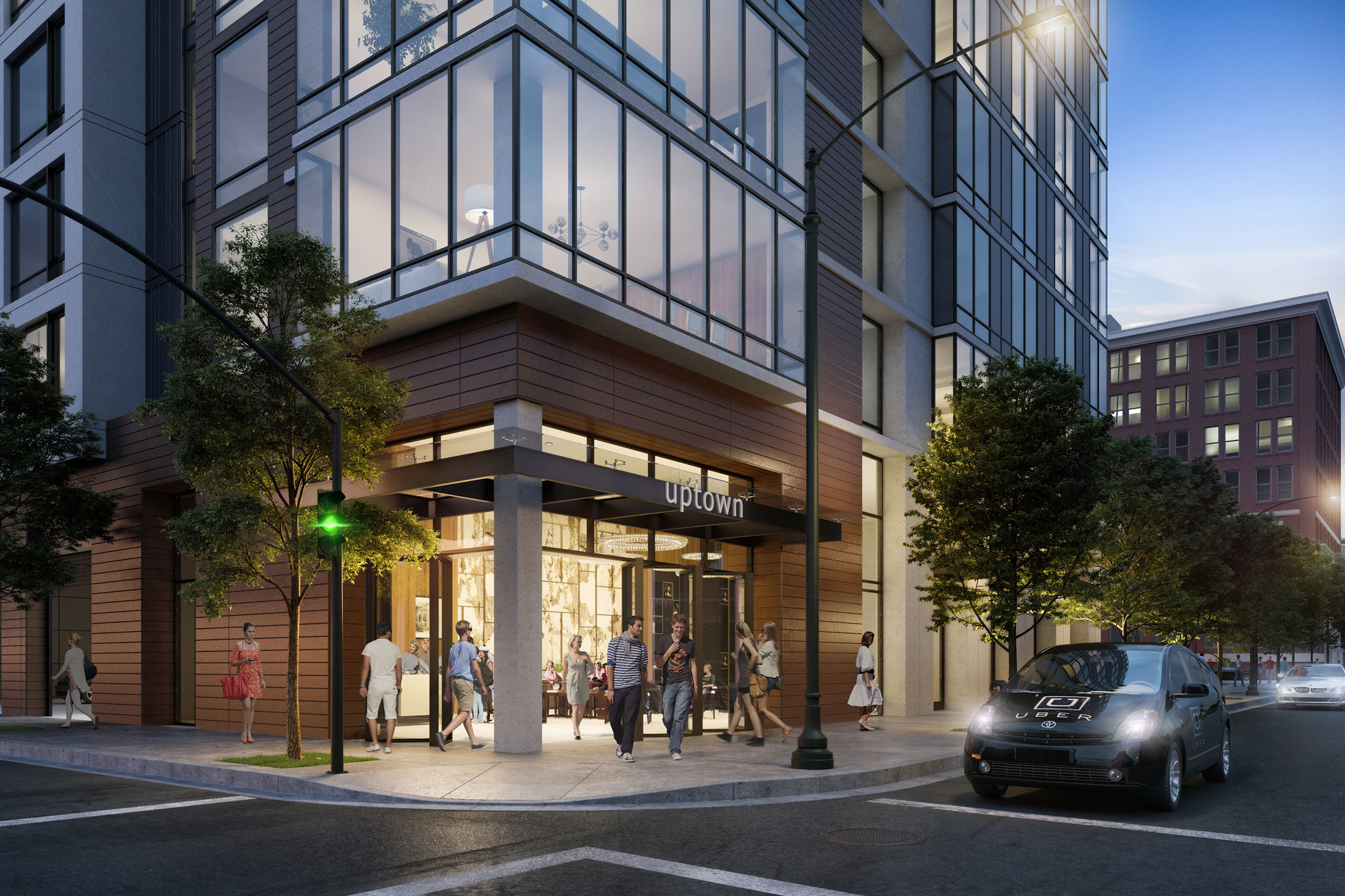 Lobby and reception apartment building 2015 Telegraph Oakland brick-inc