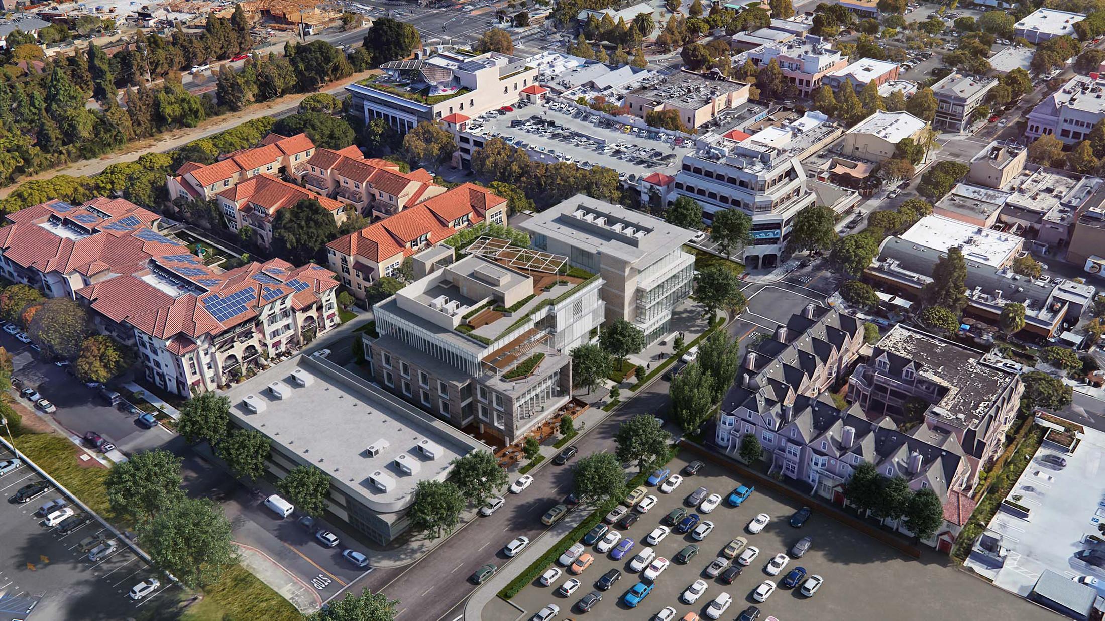 Aerial view building and landscape 950 Villa LEED office building design brick-inc
