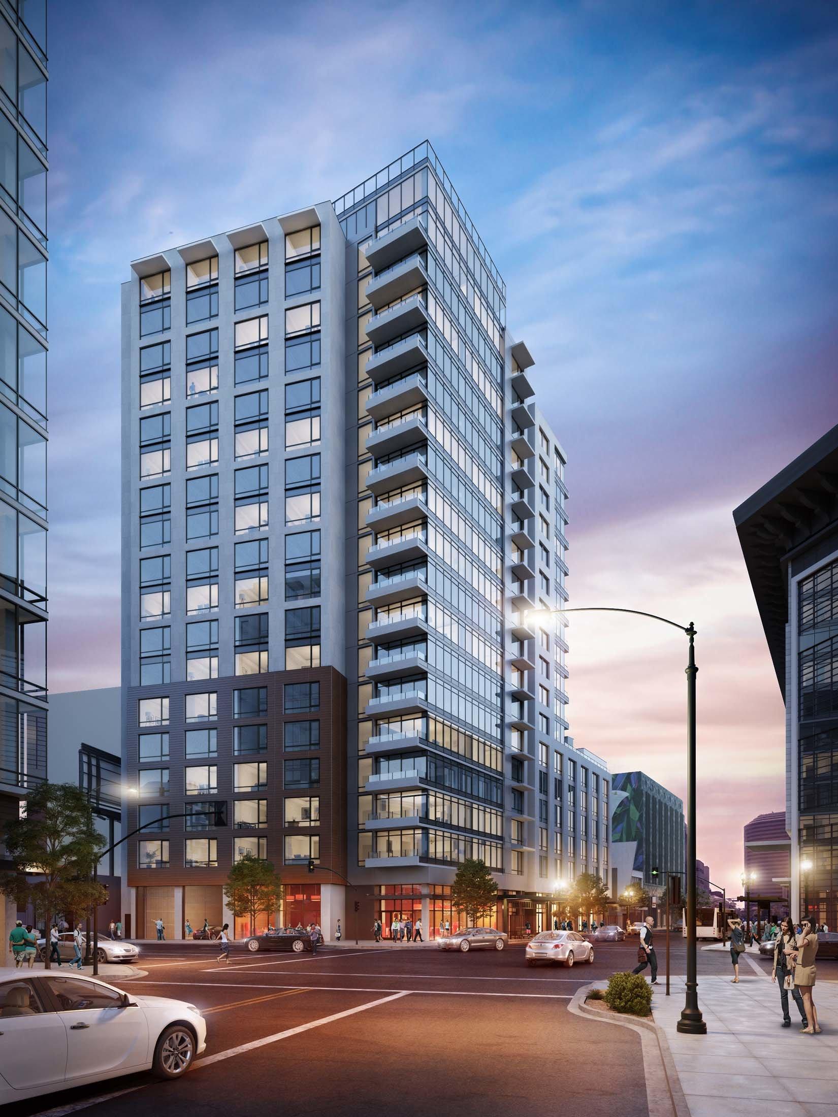 2016 Telegraph Oakland Apartment Building Exterior Rendering Design Architecture by brick.