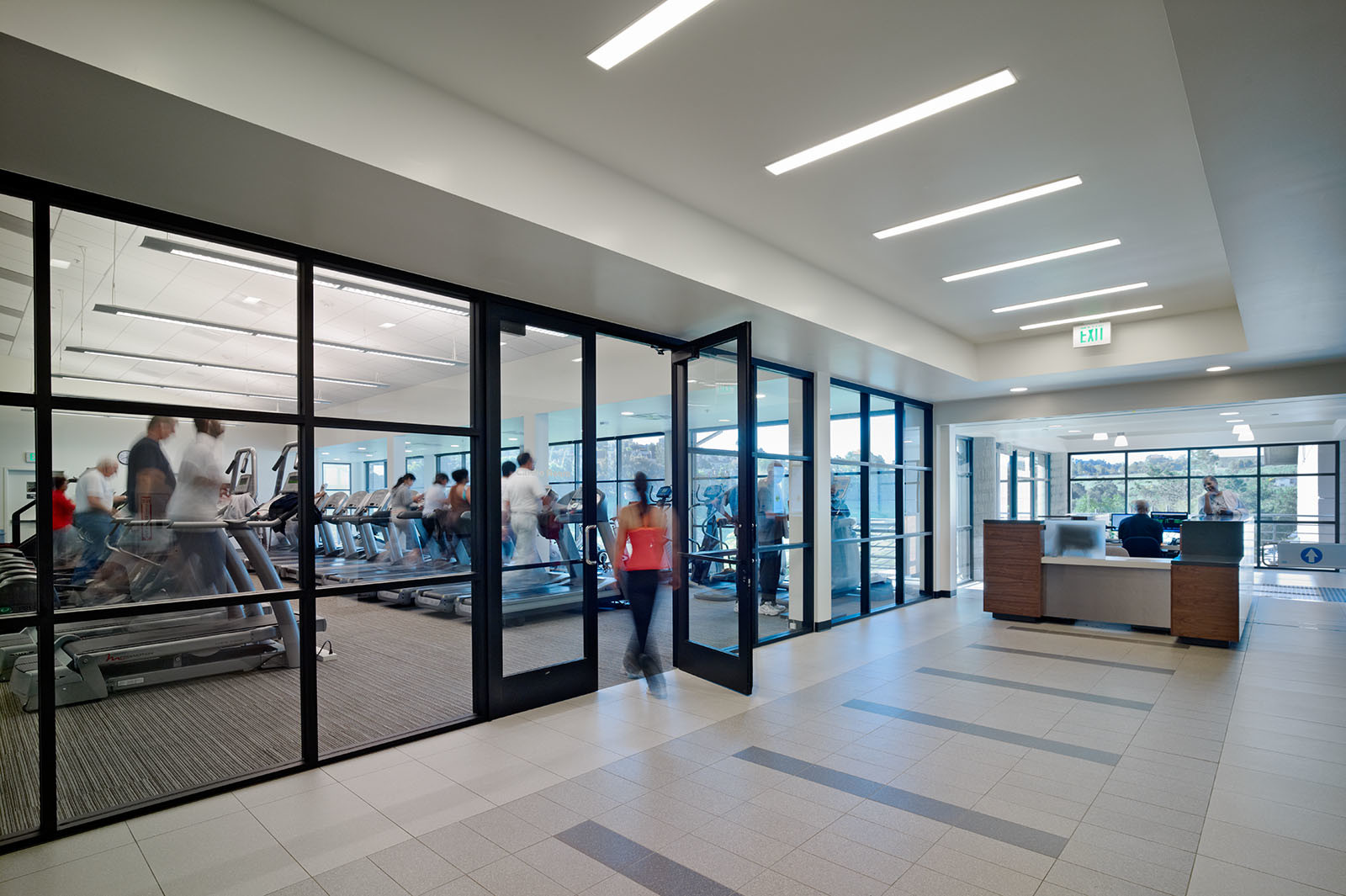 View of Weight room entrance Hilltop Family YMCA Richmond, CA fitness facility renovation ©brick-inc