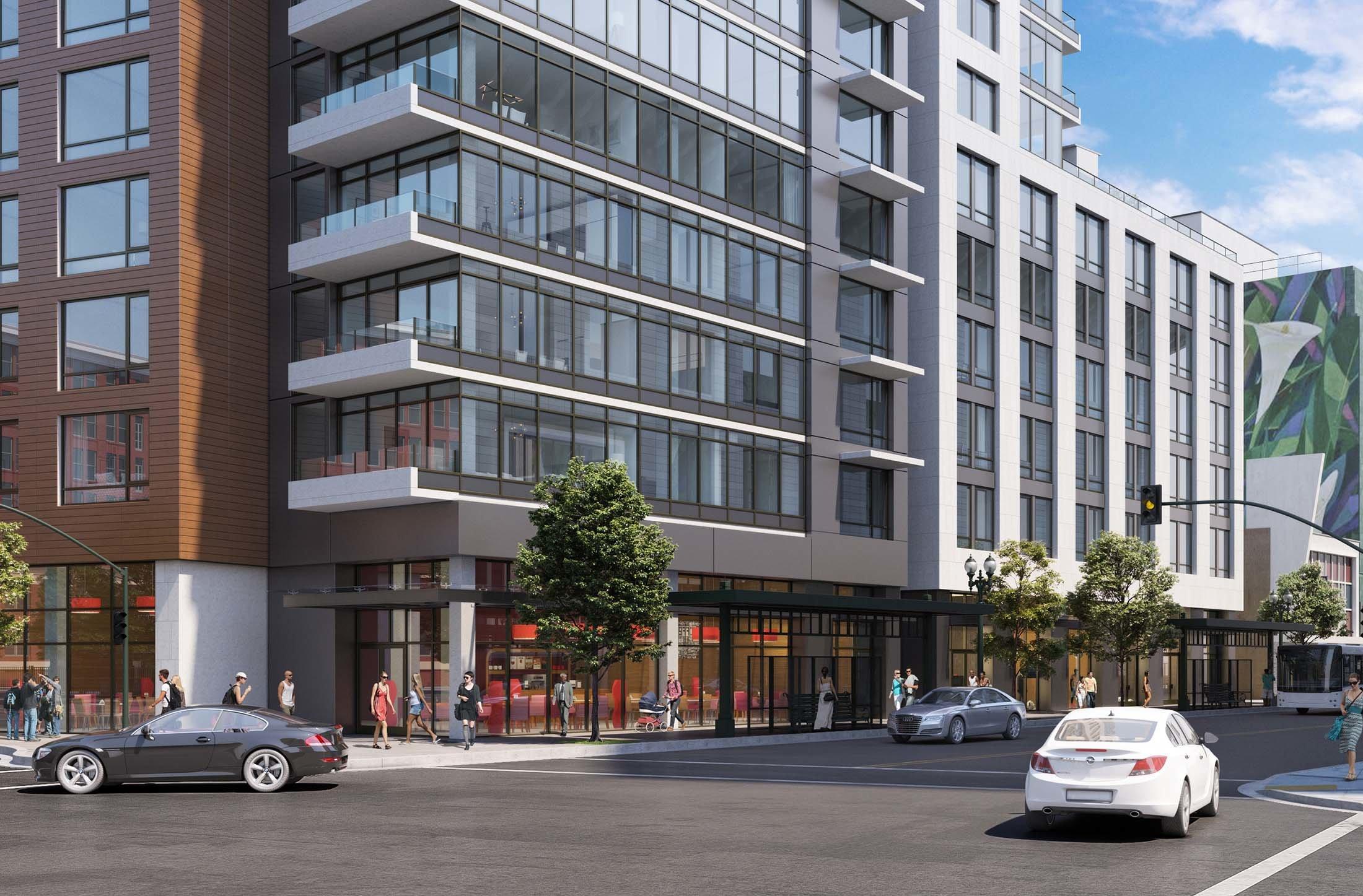 2016 Telegraph Oakland Apartment Building Exterior Design Architecture by brick.