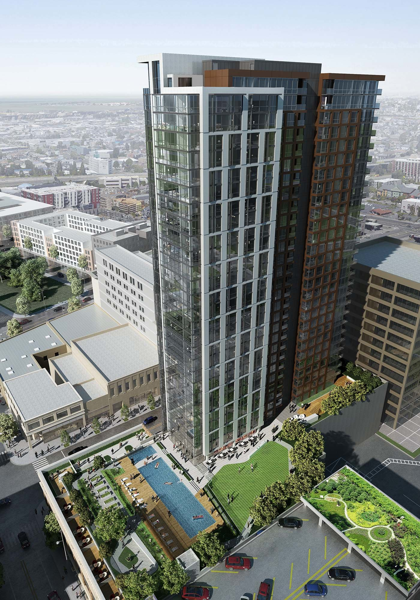 1900 Broadway Oakland High-rise apartment building aerial view - design by brick-inc