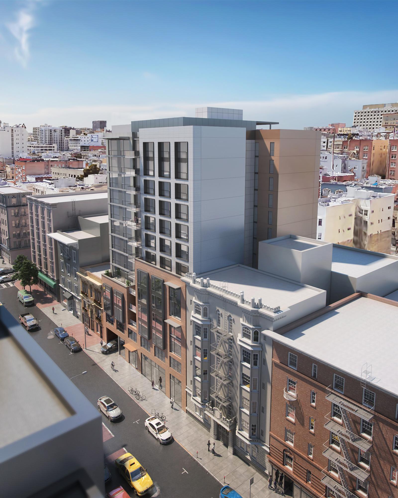 550 O'Farrell San Francisco exterior apartment building architecture design ©brick-inc