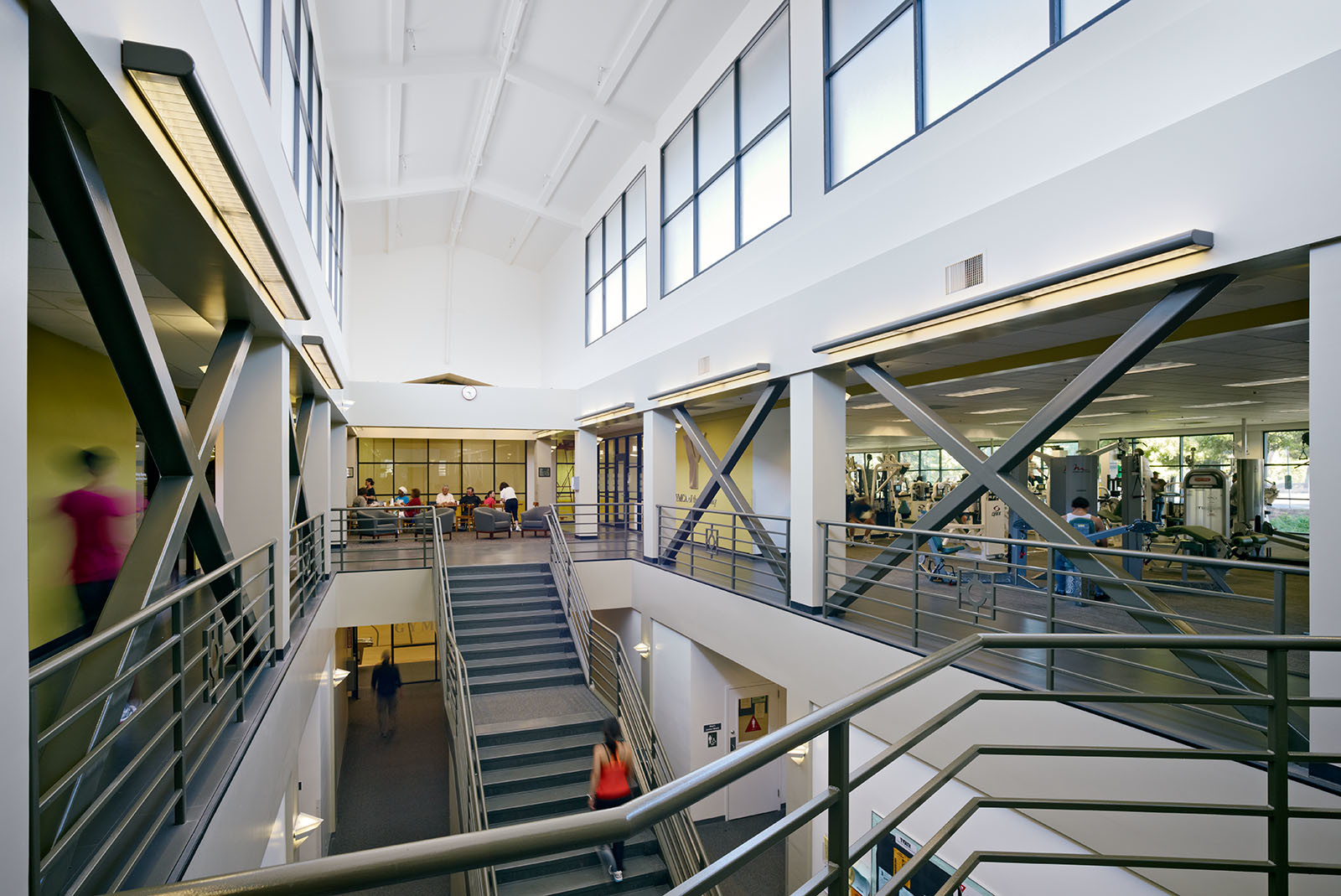 Atrium view Hilltop Family YMCA Richmond, CA fitness facility renovation ©brick-inc