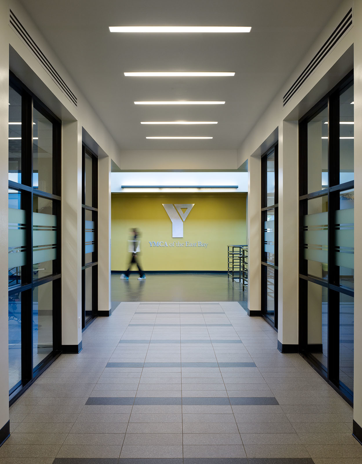 Hallway view Hilltop Family YMCA Richmond, CA fitness facility renovation ©brick-inc