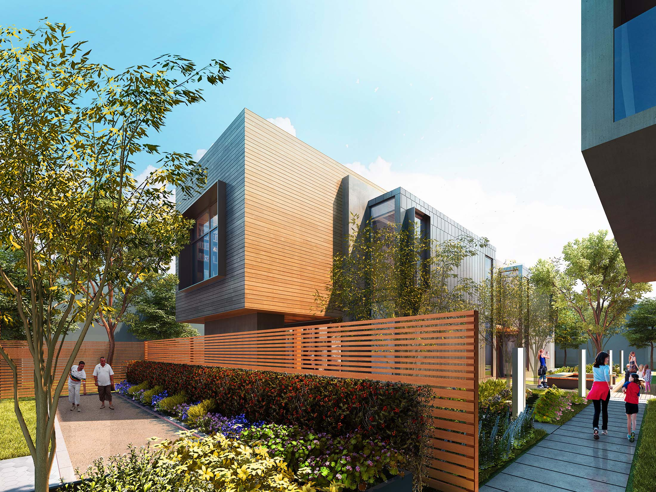 Entrance to 650 Live Oak Menlo Park mixed-use office residential architecture project ©brick-inc