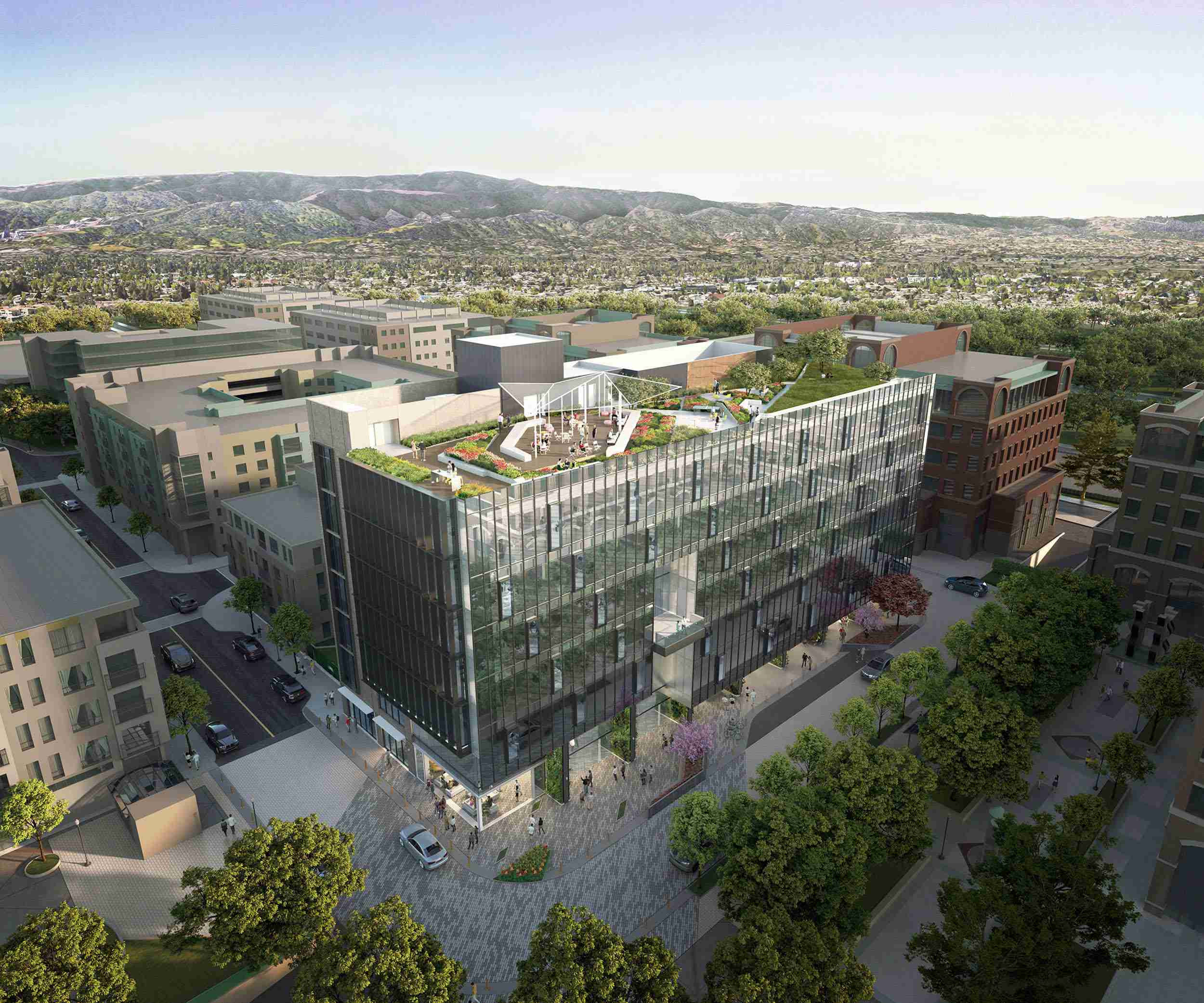 Aerial view of deck and garden Visa Palo Alto workplace design brick-inc